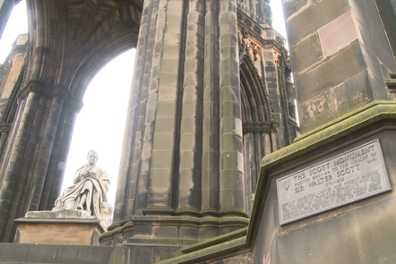 Photograph of the Walter Scott Monument in Edinburgh City with bright backdrop