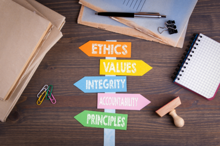Signpost on desk saying ethics, values, integrity, accountability and principles