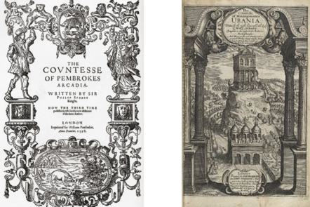 title pages of 'The Countess of Pembroke's Arcadia' and 'The Countess of Montgomeries Urania'