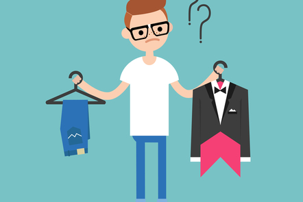 A cartoon vector of a man comparing two outfits.
