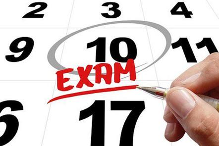 Calendar with exam on it