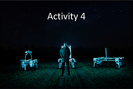 Man standing in a field in the dark in front of 3 agricultural robots