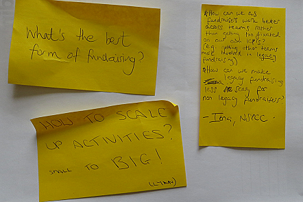 Post-It notes with suggested topics for a day's sessions at a fundraising conference