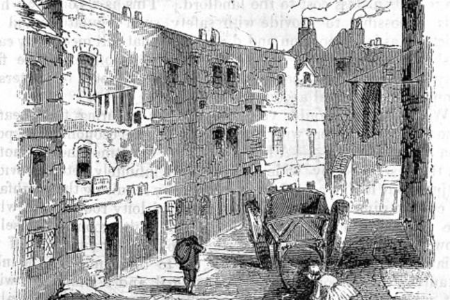A slum street in Westminster, known as 'Snow's rents'.