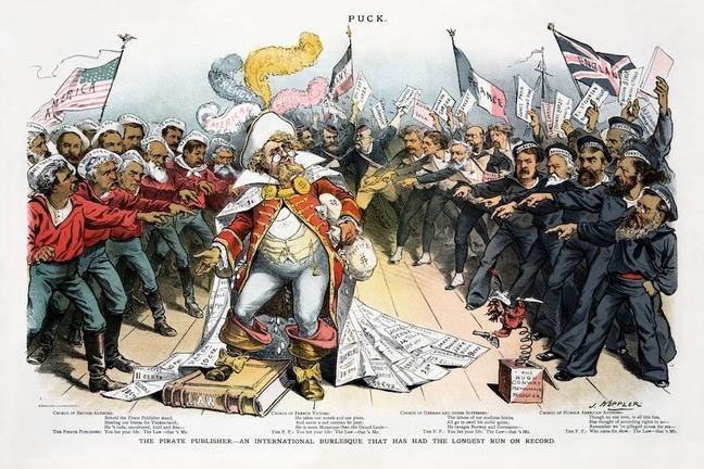 Ilustración de la escena de una parodia sobre un editor pirata de libros.