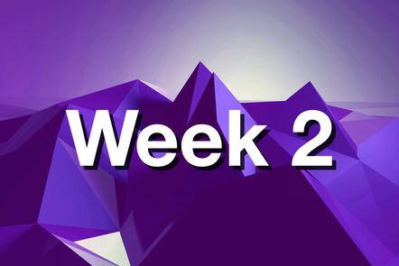 "Within purple mountain with ""week 2"" written on it."