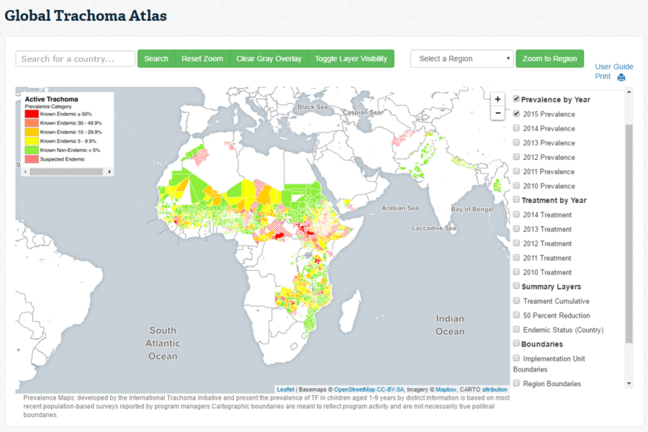 Screengrab of the home page of the Global Trachoma Atlas website