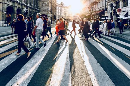 Crowd of people on a pedestrian crossing