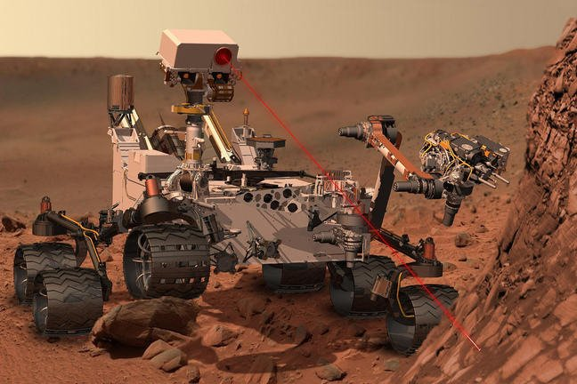 Mars Rover craft at work on Mars
