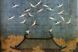Auspicious Cranes, ink and color on silk by Emperor Huizong of Song, 1112.