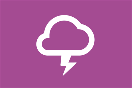 Weather icon of a cloud and a bolt of lightning