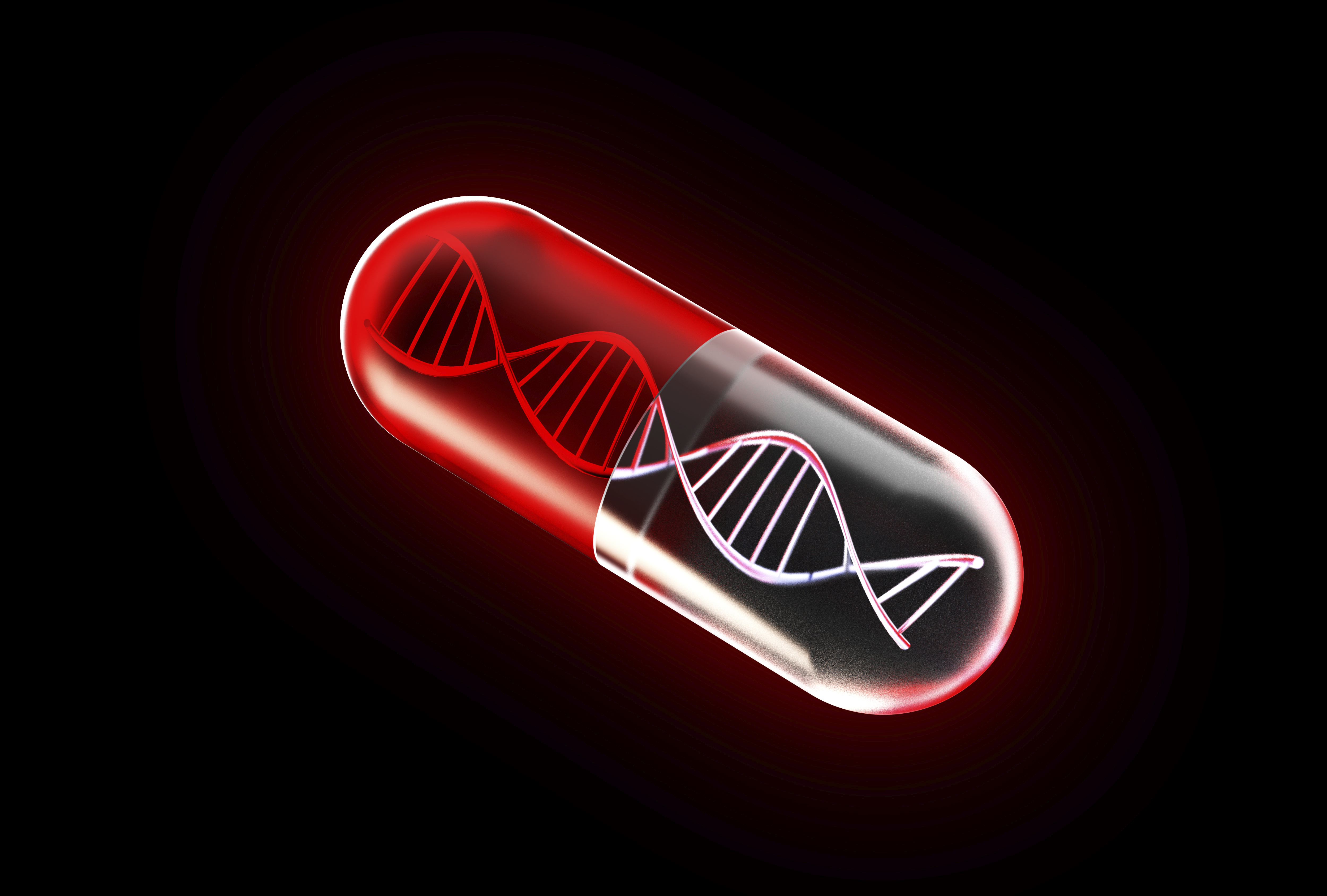 A picture of a medicine capsule containing DNA