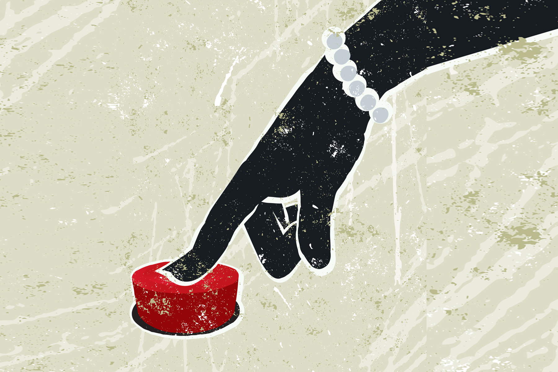 A woman's finger presses a large red record button. Illustration.