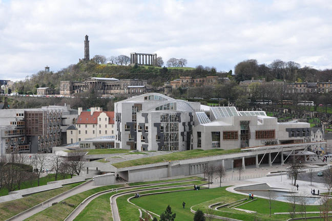 Scottish Parliament Building and Garden from the Salisbury Crags