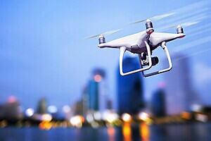 a drone on a city sky