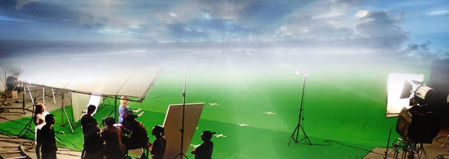 Visual effects (VFX): a film crew using a green screen