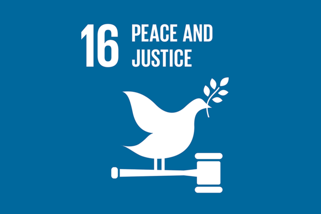 An image of SDG 16: Peace and Justice on a blue background with a dove, gavel and olive branch.