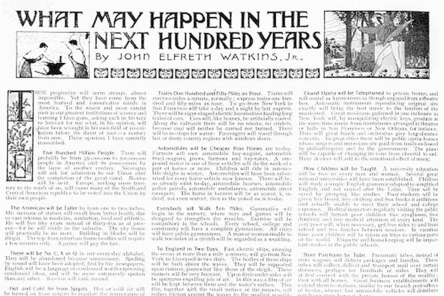 PREDICTIONS, 1900. - Beginning of the article 'What May Happen in the Next Hundred Years?' by John Elfreth Watkins, Jr., from the December 1900 issue of the 'Ladies' Home Journal.'
