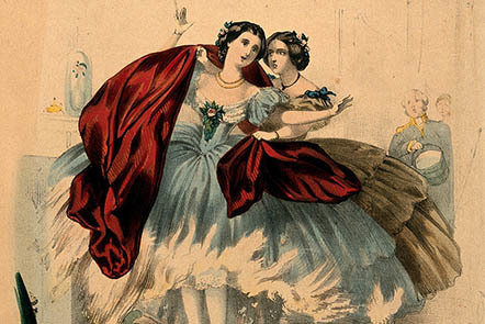 A colourful engraving of a woman wearing a large blue gown with another woman wearing a large green gown behind her who is draping a red shawl over her, as the former attempts to move away from the fireplace.
