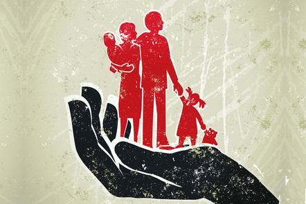 A mother, father and their two young children stand on an outstretched palm. Illustration.