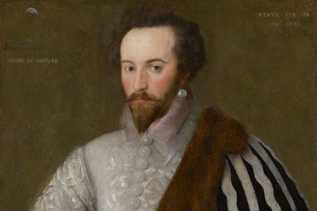 An oil painting of Sir Walter Ralegh.