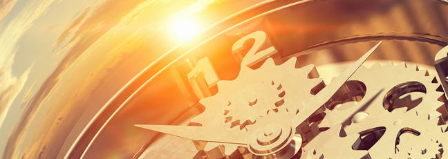 Clock image showing the hands and gears
