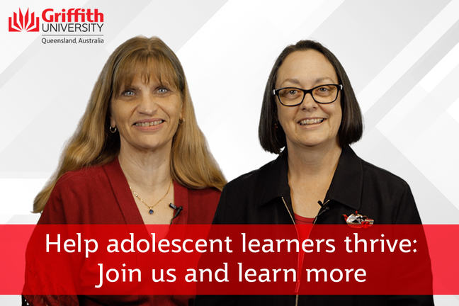 Katherine and Donna with text - Help adolescent learners thrive: Join us and learn more