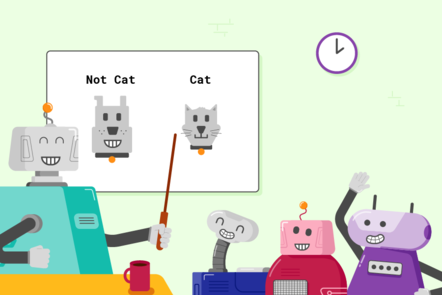 """A large robot teacher stood in front of a class of smaller robot students. On the whiteboard there are two pictures, a robot dog and a robot cat which are labelled """"Not Cat"""" and """"Cat"""" accordingly. The teacher robot is pointing to the two images."""