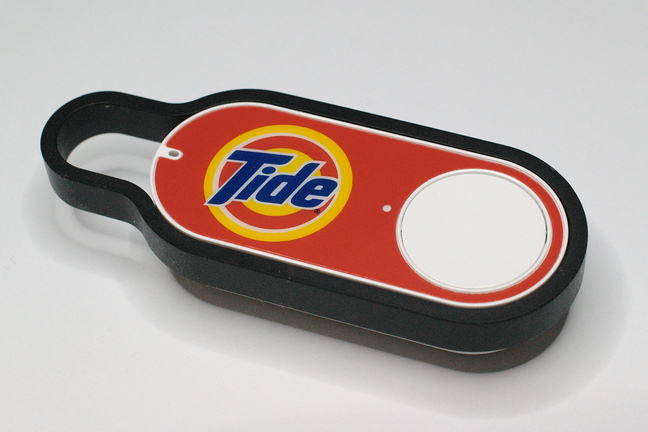 A photo of an amazon dash button for reordering washing powder.