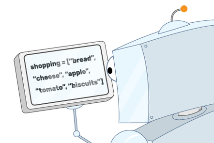 A cartoon illustration of a robot reading a shopping list