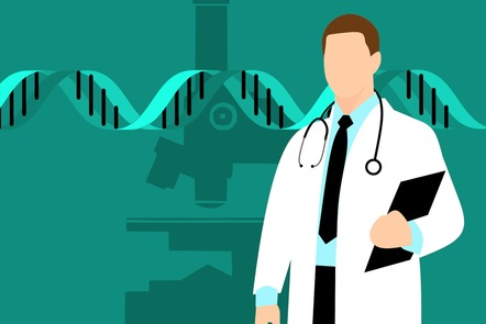 Medical doctor in white coat with a stethoscope and a file in one arm on a green background showing a DNA helix and a laboratory microscope.