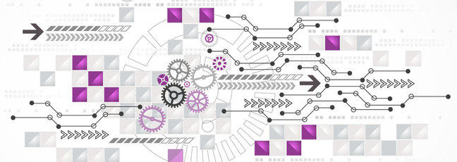 Illustration to represent the process mining course showing cogs and arrows