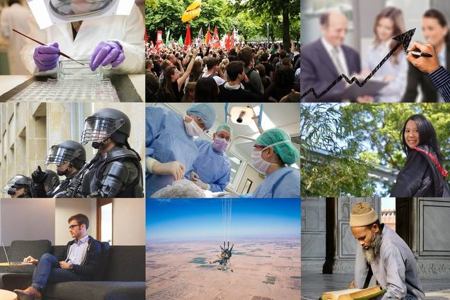 Collage of different roles: Scientist, activist, business person, police, surgeon, academic, young person working on a computer, skydiver, religious person