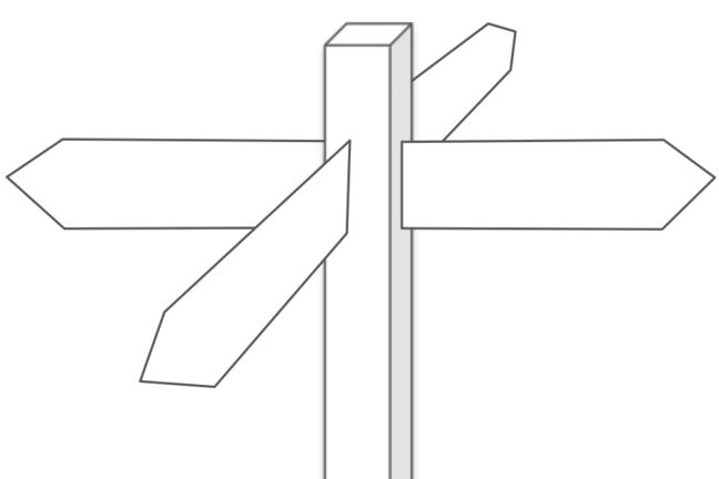 Four-way signpost at a crossroad
