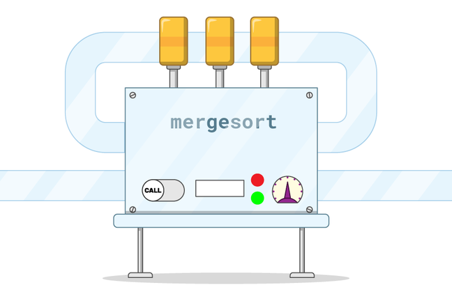 A function machine labelled 'mergesort'. It has a tube for an input coming in from the left side of the image into the left of the machine, and an output going out from the right. Another tube loops around from the right output side to the left input side