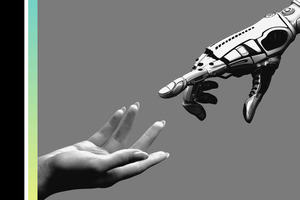 Medtech: AI and Robotics, black and white image of human hand reaching out to robotic hand