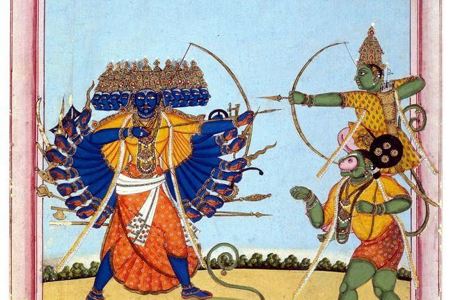 The picture from indian stories A combat of Rama and Ravana