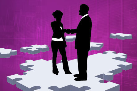 Illustration of two silhouetted figures shaking hands