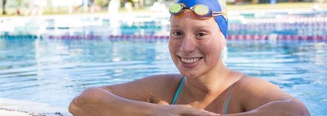 Swimming athlete at swimming pool
