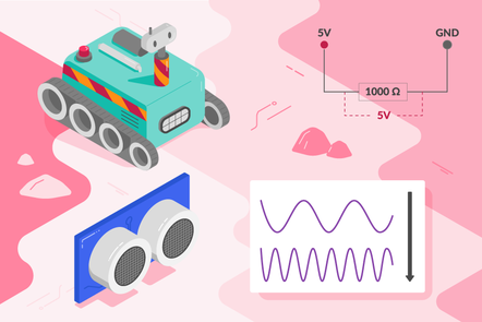 rescue robot, a ultrasonic distance sensor, a graph showing two different waves and a graphic of 5V connected to GND
