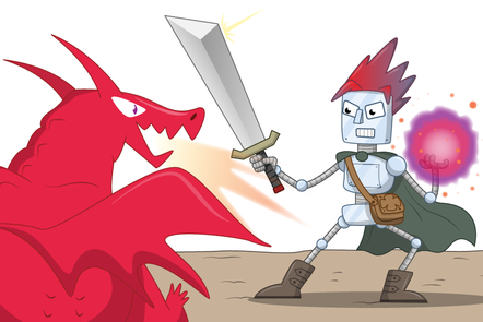 Robot with a sword confronting a dragon