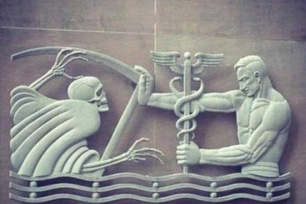 Image of doctor pushing away the Grim Reaper - Old Fulton County Department of Health and Wellness Building, USA