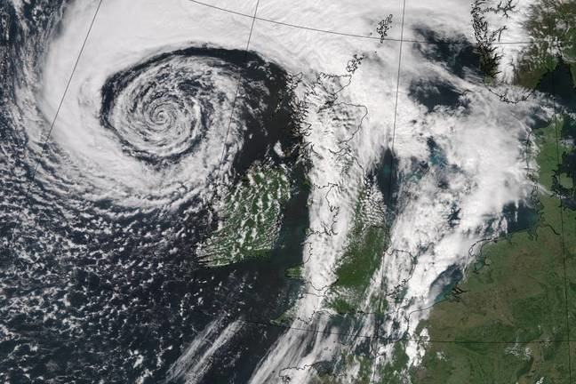 A satellite image of a weather front over the United Kingdom