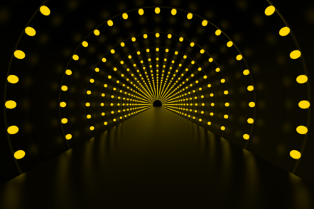 Black tunnel with yellow dots