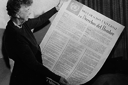 Eleanor Roosevelt with the Declaration in hand