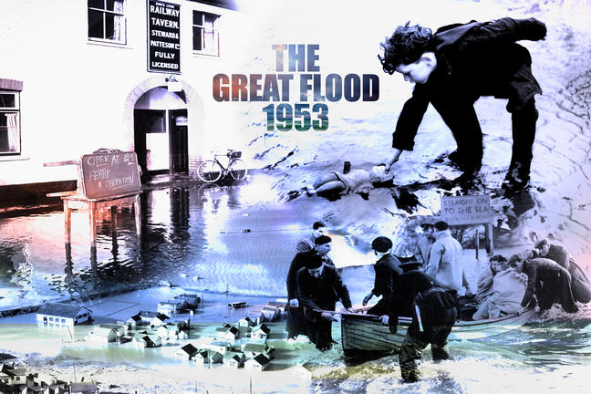 Montage of 1953 Great North Sea flood pictures - an aerial photograph of coastal houses flooded, a picture of a flooded pub offering a ferry service, a family rescued by boat, and a boy picking a doll out of flood water