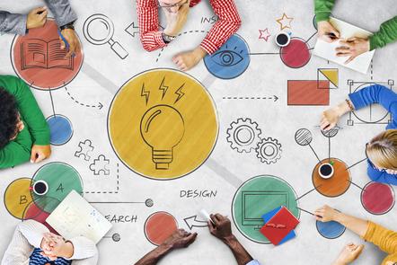 Creative concept diagram exploring ideas featuring a light bulb and cog illustration