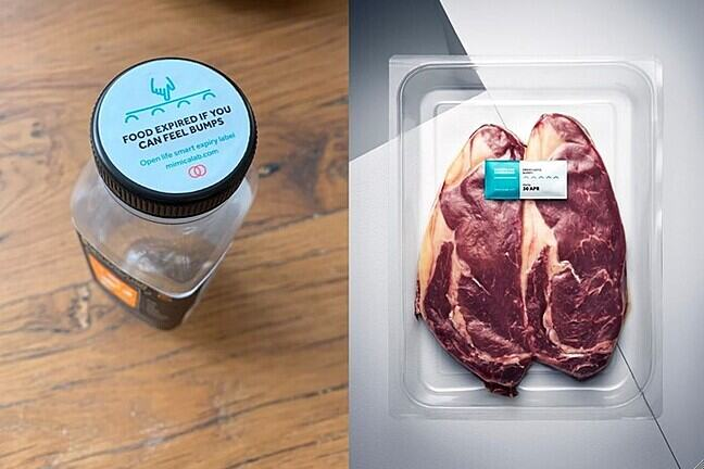 View from above of a Mimica label on a jar and one on packaged meat