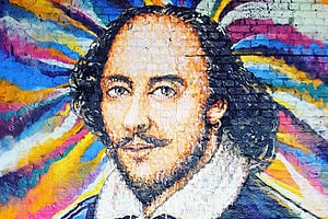 graffiti art showing William Shakespeare on a colourful background