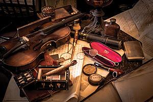 Antique trinkets on desk
